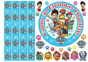 """EDIBLE PAW PATROL 6"""" ICING PERSONALISED CAKE TOPPER, EDIBLE RIBBON & EXTRA'S"""