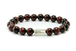 Mens Tiger Eye Bracelet-Essential Red Tigers Eye & Sterling Silver Bead bracelet