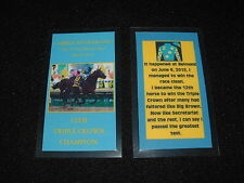 AMERICAN PHAROAH 2015 TRIPLE CROWN HORSE RACING KEEPSAKE CARD BELMONT STAKES