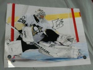 Marc-Andre Fleury, Pgh Penguins Signed 8 x 10 Photo, White Jersey In Goal #2