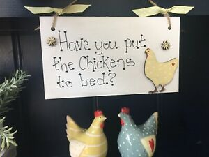 Chicken Hen country wall  indoor signs/plaques  porch kitchen wood gift reminder