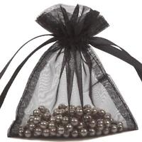48x Premium Black Organza Gift Pouch Wedding Favour Jewellery Bags 7x10cm