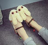 Women's Retro Cute Rabbit Fluffly Girls Flats Loafers Bead d6 comfy Casual Shoes