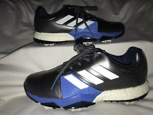 Adidas Adipower Boost 3 Golf Shoes Charcoal Silver/Blue Leather Mens 9.5 EUC!