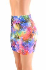 MEDIUM Prismatic Watercolor Cosmos Bodycon Spandex Mini Skirt Ready to Ship!