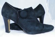 $129 Franco Sarto L-Artista Black Suede Leather Zipper Booties ankle boots 7.5 M
