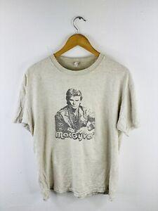 Macgyver Men's Vintage Short Sleeve Crew Neck T Shirt Size L Grey