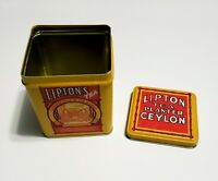 Lipton's Finest Tea : Vintage Bristol Ware Tin Can With Lid *CLEAN