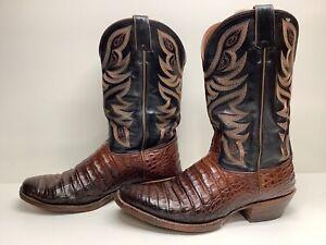 #W VTG MENS NOCONA SQUARE TOE COWBOY CROCODILE SKIN BROWN BOOTS SIZE 12 D