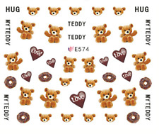 Nail Art 3D Decals Transfers Stickers Hug My Teddy (E574)