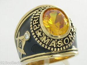 12x10 mm Mason Masonic Prince Hall November Yellow CZ Stone Men Ring Size 12