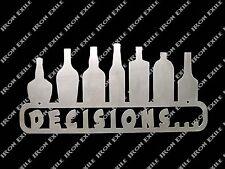 Decisions Funny Alcohol Beer Mancave Bar Pub Pool Dorm Room Wall Art Metal Sign
