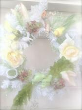 Shabby Hamptons Yellow & Green Bird Christmas Display Wreath French Vintage Chic