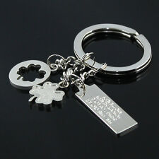 2pcs Silvery Color Four-leaf Clover Fortune Keychain Key Chain Ring Key Fob