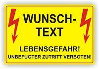 Elektro Wunschtext/ Warnschild/ Sicherheitsregel/ Hochspannung/ Alu-Verbund 3mm