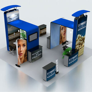 20ft Custom Portable Trade Show Displays Booth with TV Brackets Counters Lights