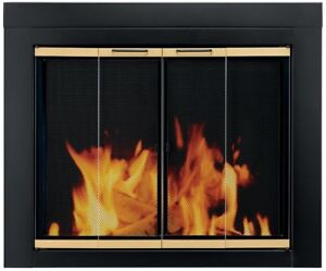 Fireplace Doors Medium Clear Tempered Glass Surface Mount with Easy-Grip Handles