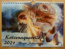 Katzenkalender 2021 mit Aquarellen von Birgit Schneiker DIN A4