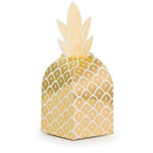 Gold Pineapple Wedding Foil Favor Boxes Treat Boxes Luau Bridal Shower
