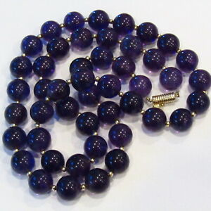 "STUNNING Amethyst Bead Necklace 14k Gold Hand Strung Vintage 31"" 179 Grams"