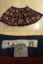 Women's Forever 21 M NWT Skirt Dark Blue Bergundy Yellow Flowy