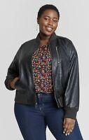 Ava & Viv X Bomber Jacket Coat Black Faux Leather Womens Plus