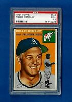 1954 Topps Baseball # 143 ROLLIE HEMSLEY PSA 5.5 EX + PHILADELPHIA ATHLETICS