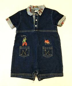 Rare Nick Nora Kids Western Blue Jean Romper Ones One Piece Cowboy Rodeo 18mths