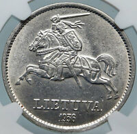 1936 LITHUANIA VYTAUTAS the GREAT Vintage Silver 10 Litai Lithuanian Coin i85314