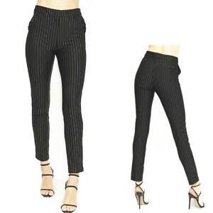 Women Black Classic Fit Zip up Mid Rise White Chalk Stripe Trousers Pants S M L