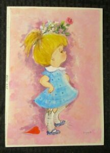 """VALENTINES DAY Cute Girl in Blue Dress & Heart 7x10"""" Greeting Card Art #3438"""