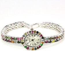 Sterling Silver 925 Genuine Fancy Coloured Tourmaline 2 Row Watch 71/2 Inch #2