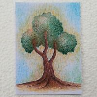 ACEO ART CARDS ORIGINAL BALLPOINT PEN HAND PAINTED FANTASY TREE