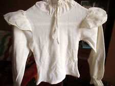 sz 10-12  True Vtg 70s WHITE CAP SLEEVE NYLON LS BOHO THIN STRETCH GIRLS TOP