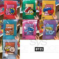 BTS BT21 Official Authentic Goods 3 Pocket Flie Folder By Monopoly 7SET + Track#