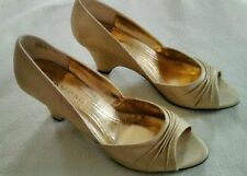 Women's Rampage Risque Gold Sparkle Open Toe Wedge Heels Shoes Size 9.5