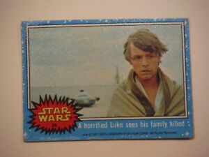 Star Wars Series 1 (Blue) Topps 1977 Trading Card # 26 A Horrified Luke Sees His