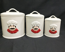 """Ceramic 3 Piece """"Chef"""" Canister Set with Seal"""
