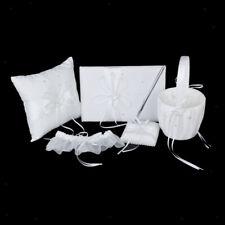 5 Wedding Set Guest Book Pen Ring Pillow Flower Basket Garter Crystal Heart