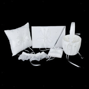 5 Wedding Set Guest Book Pen Ring Pillow Flower Basket Garter Crystal Heart