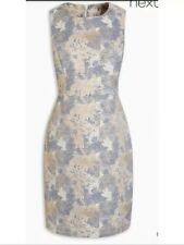 Bnwt🌹Next🌹Size 18 Uk Silver Mix Jacquard Dress Evening Going Out Party New