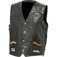 Diamond Plate™ Italian Stone™ Design Genuine Buffalo Leather LED Vest