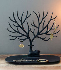 BLACK Display Jewelry Tree Stand Holder Rack Show Earring Necklace Ring Retro UK