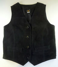 Route 66 Women's Black Suede Leather Vest Size S Biker Cowgirl Western Costume
