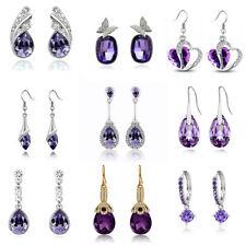 Purple Heart Leaf Teardrop Hoops Crystal Stud Drop Dangle Party Bridal Earrings