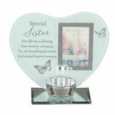 """Thoughts of You"" Glass Photo Frame Memorial Tea Light Candle Holder - Sister"