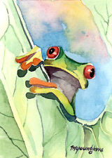 ACEO print of an original watercolor, Limited Edition-Frog, Can you play with me