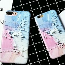 iphone 8/7 Pastel Pink Blue Ultra Thin Graffiti  Silicone Case Paint Style...