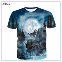 Moon Forest Wolf 3D Print Fashion Men's Casual T-Shirt Short Sleeve Graphic Tee