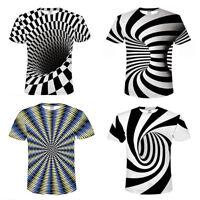 3D Optical illusion T-Shirt Hypnosis Swirl Print Men Women Short Sleeve Tee Tops